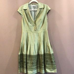 Kay Unger 100% silk green dress size 12